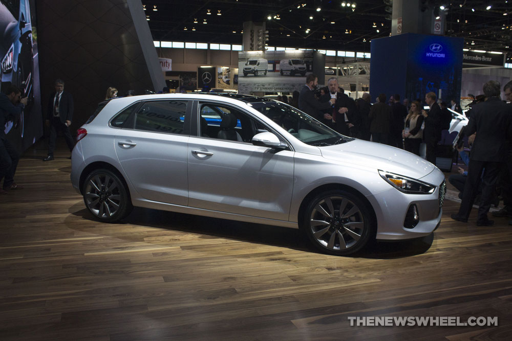 2018 Hyundai Elantra GT Sport white sedan car debut at Chicago Auto Show