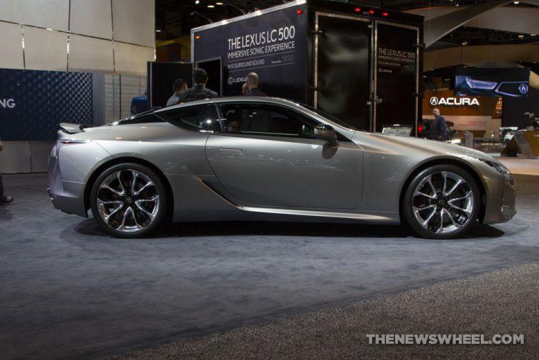 2018 Lexus LC 500 silver sedan car on display Chicago Auto Show