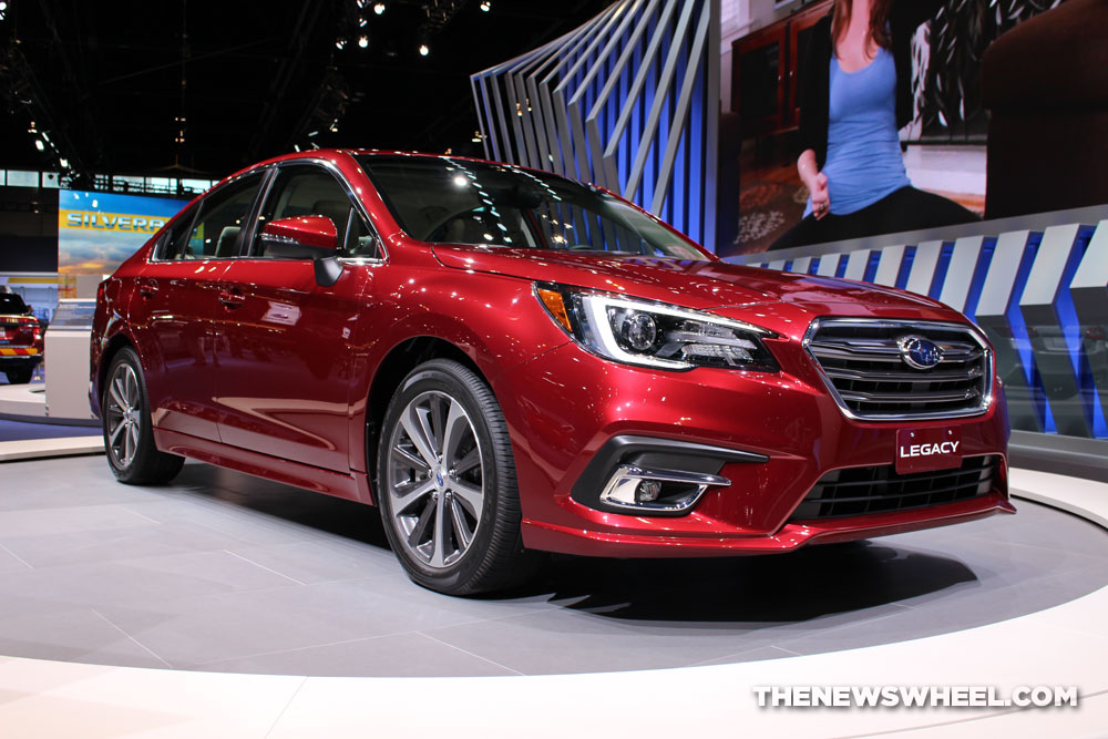 2018 Subaru Legacy 3.6R Limited red sedan car on display Chicago Auto Show