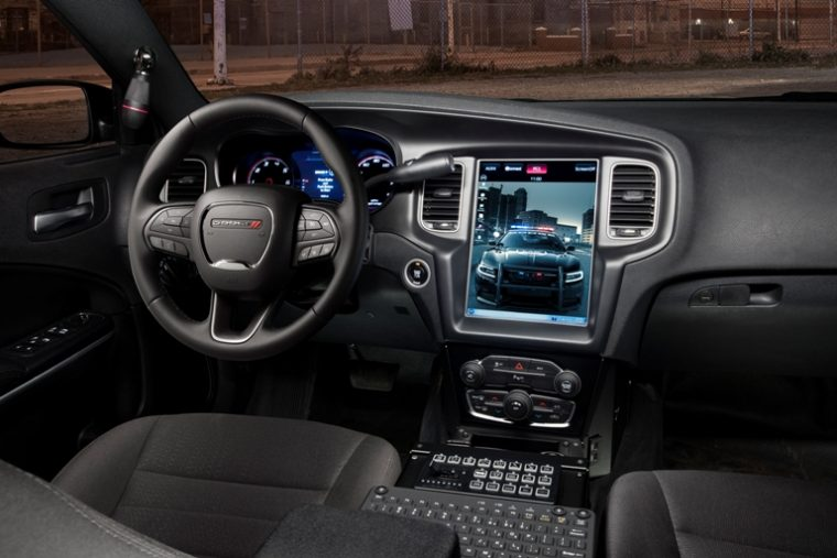 2017 Dodge Charger Pursuit's all-new and segment's largest Uconnect 12.1-inch touchscreen that enables a segment-exclusive integration of law enforcement computer systems with the easy-to-use and award-winning Uconnect touchscreen system.