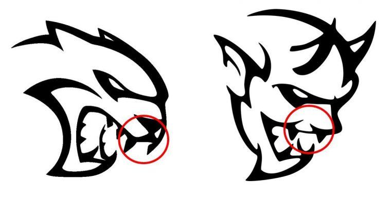 Dodge Hellcat Demon logo design similarities Fangs