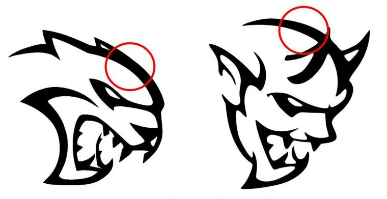 Dodge Hellcat Demon logo design similarities Heads
