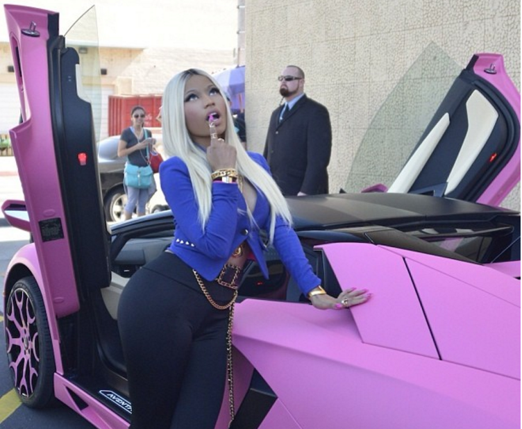 One of the most expensive cars owned by Nicki Minaj is this pink Lamborghini