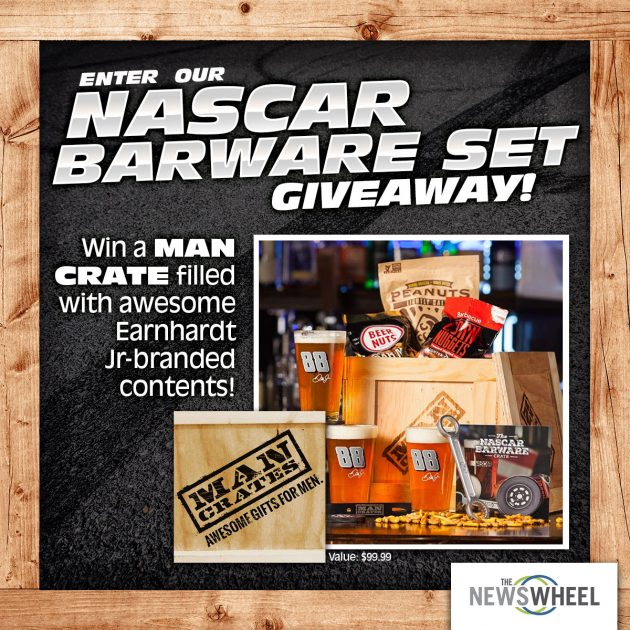 The News Wheel Man Crate Giveaway Banner Image NASCAR prize square