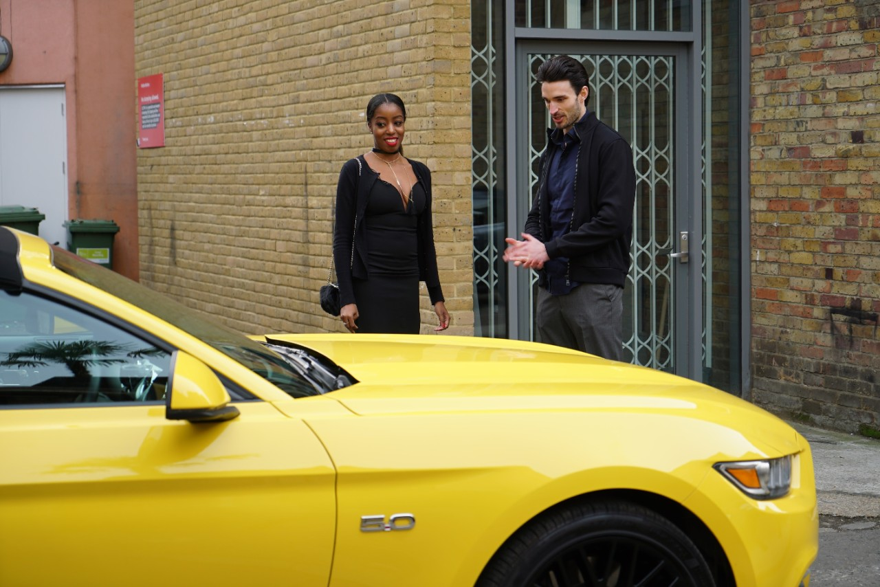 Tinder dates hook up in a Ford Mustang GT Convertible