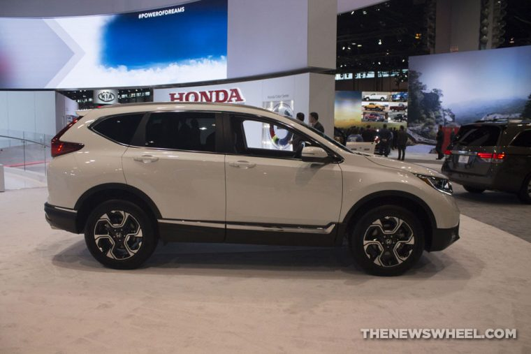 The 2017 Honda CR-V has a starting MSRP of $24,045 and earns up to 32 mpg on the highway