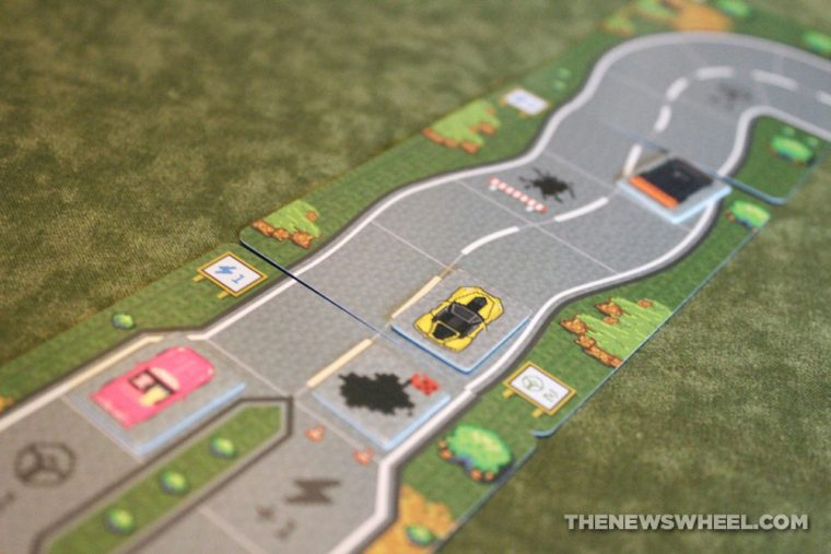 Dice Drivin car racing board game review Vorpalia track cards