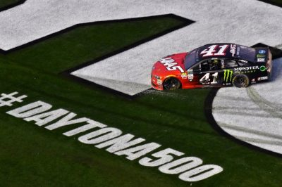 Kurt Busch drove his No. 41 Ford Fusion racecar to victory in the 59th Daytona 500