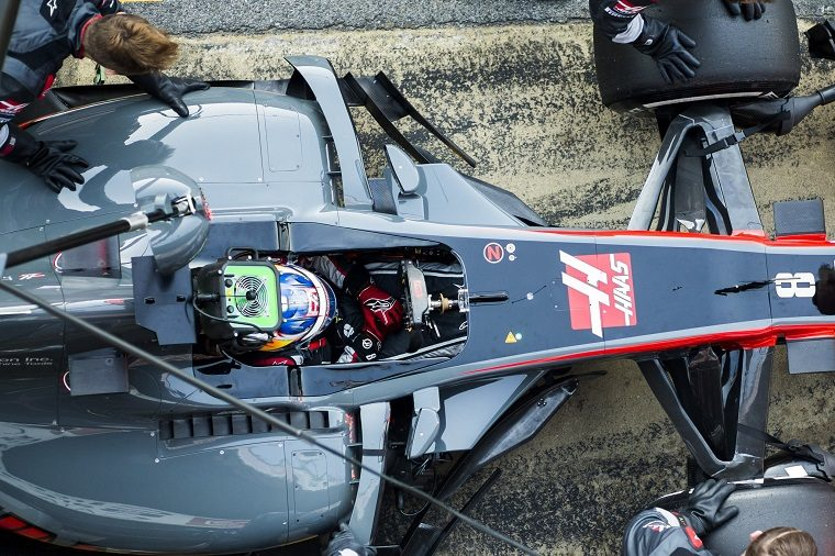 Romain Grosjean in the Haas F1