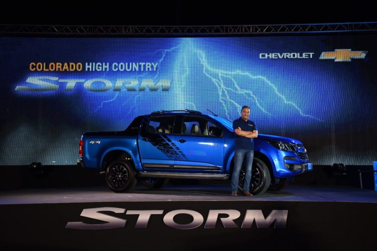 Wail A. Farghaly, Managing Director of GM Thailand, poses with Chevy Colorado High Country STORM