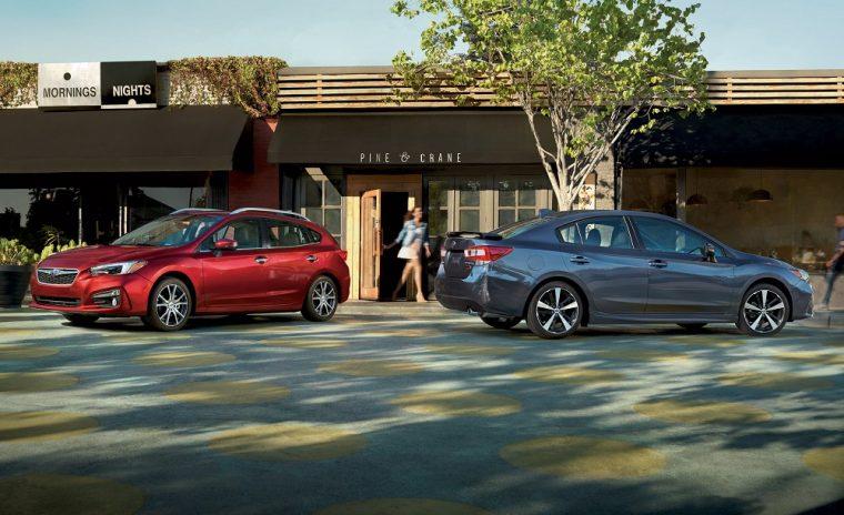 2017-Subaru-Impreza-Red-Hatchback-Gray-Sedan