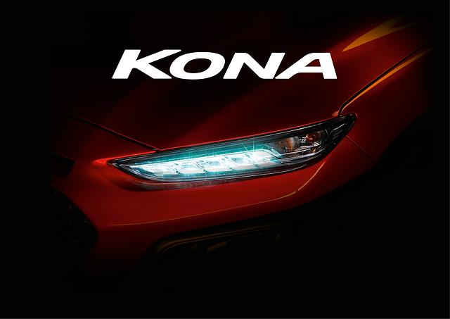 Hyundai Kona subcompact crossover SUV headlight tease upcoming vehicle release launch