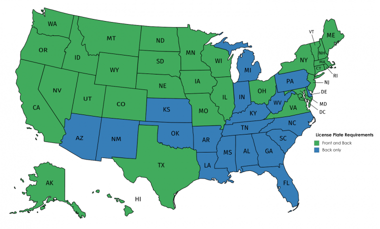 states that require front license plates