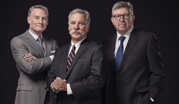 Sean Bratches, Chase Carey, and Ross Brawn
