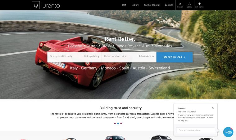 lurento luxury car rental europe