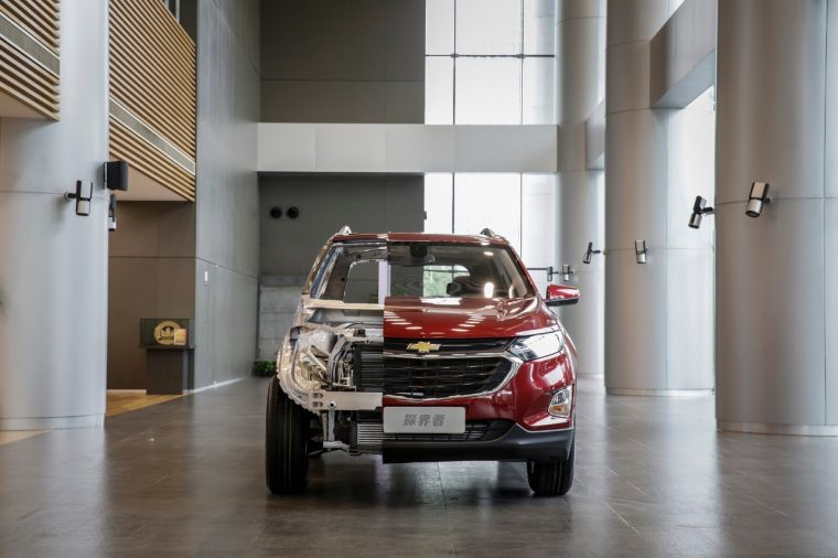 A Chevy Equinox cut-away being shown at the Leaner-Greener-Safer -- Chevrolet Equinox Media Workshop in Shanghai