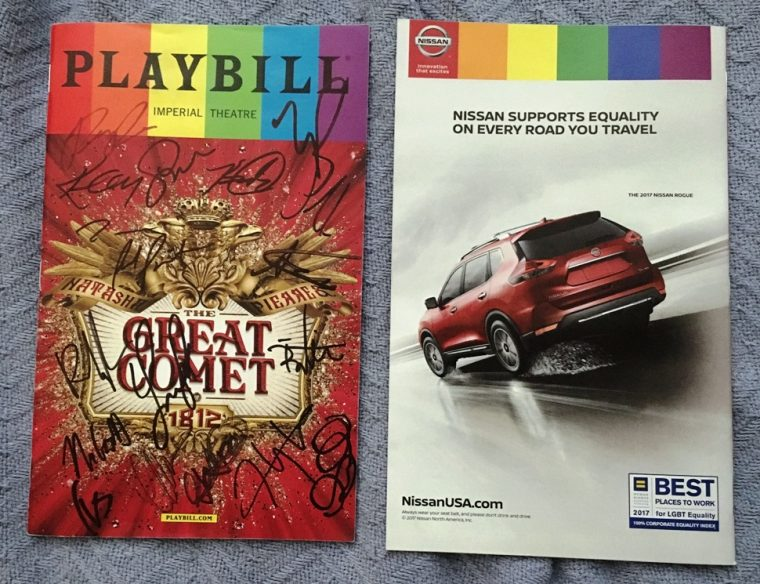 Pride Month Playbill for 'Natasha, Pierre & The Great Comet of 1812' and the back cover ad from Nissan