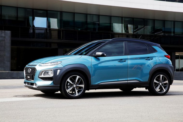 Hyundai Kona compact SUV new crossover vehicle model photos side body