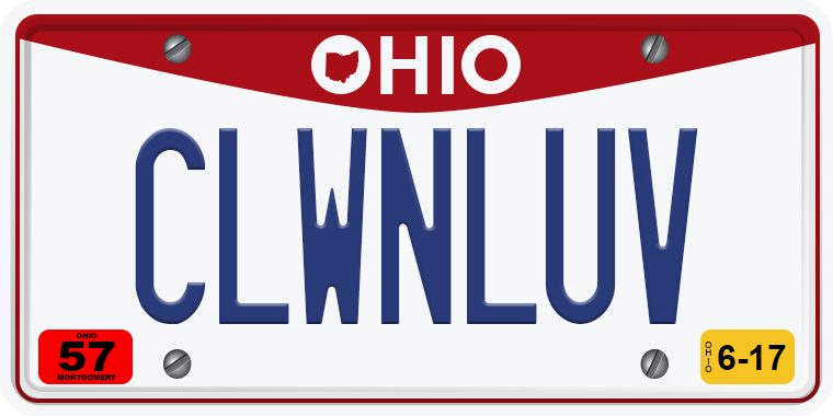 TNW Funny hilarious vanity license plate messages CLWNLUV