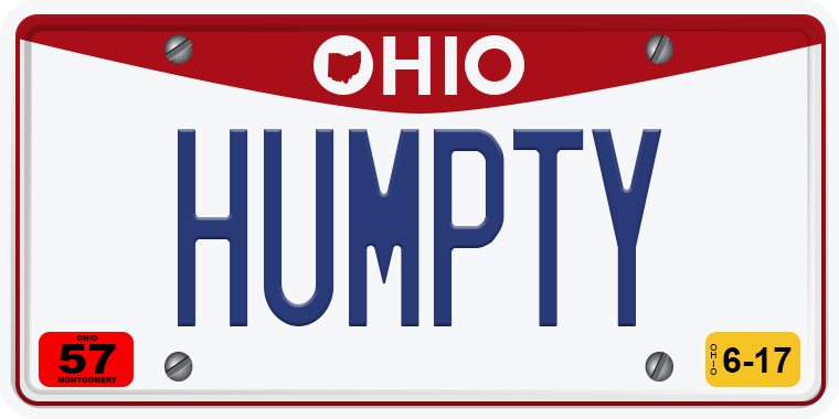 TNW Funny hilarious vanity license plate messages HUMPTY