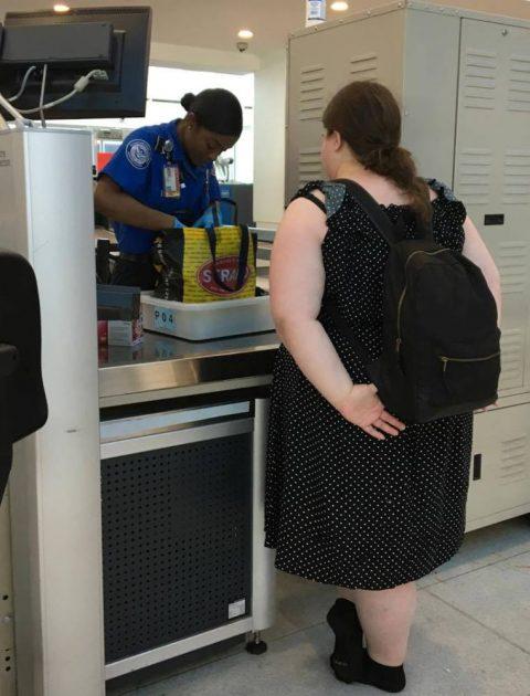 Editor Rebecca's bags getting additional TSA screening.