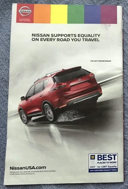 CLoseup of Nissan Pride ad on Playbill