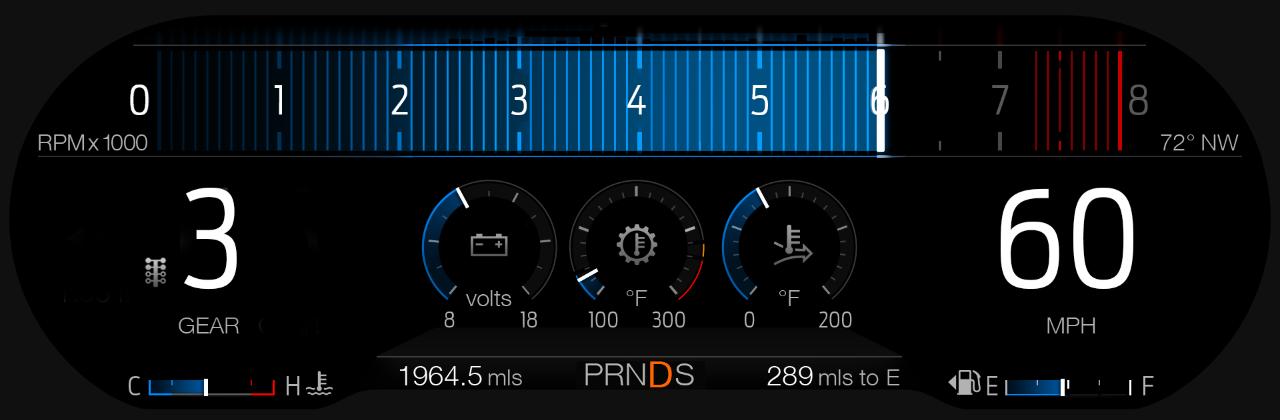 2018 Ford Mustang GT Drag Strip mode digital cluster display