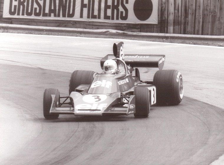 Jody Scheckter practicing for 1974 British Grand Prix