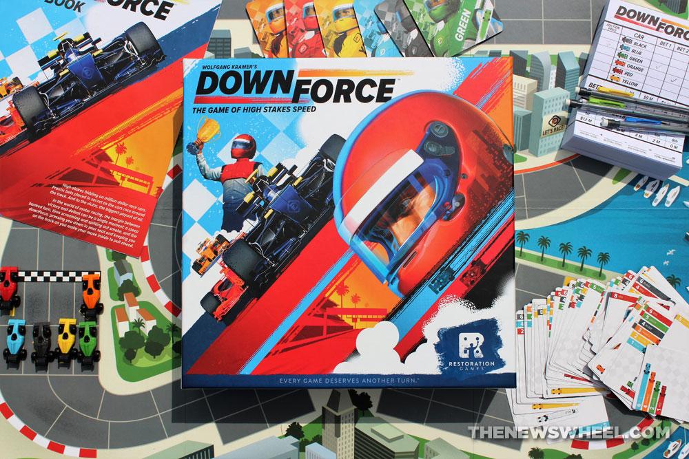 Downforce car racing board game review Restoration Games Wolfgang Kramer buy