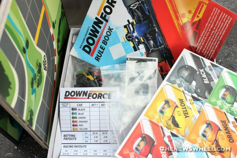 Downforce car racing board game review Restoration Games Wolfgang Kramer components box contents