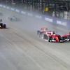 The two Ferraris collide