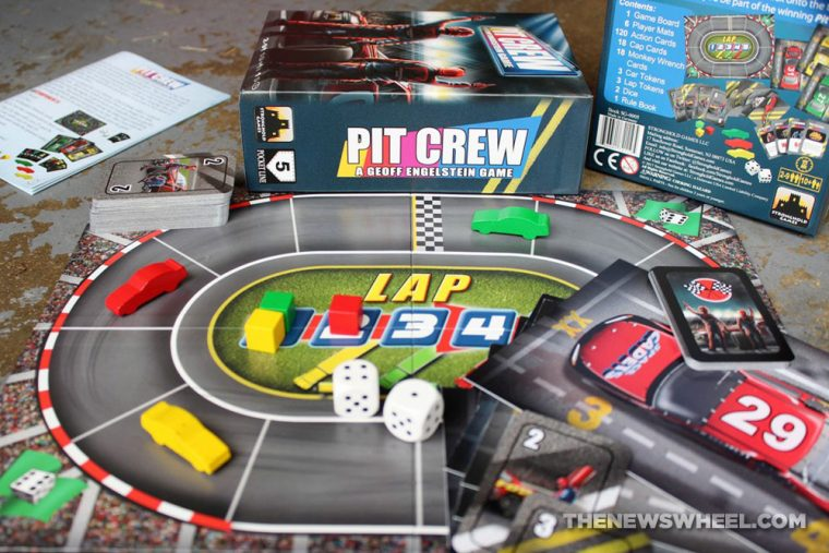 Pit Crew car racing board game Geoff Engelstein Stronghold review 2017 automotive cards review