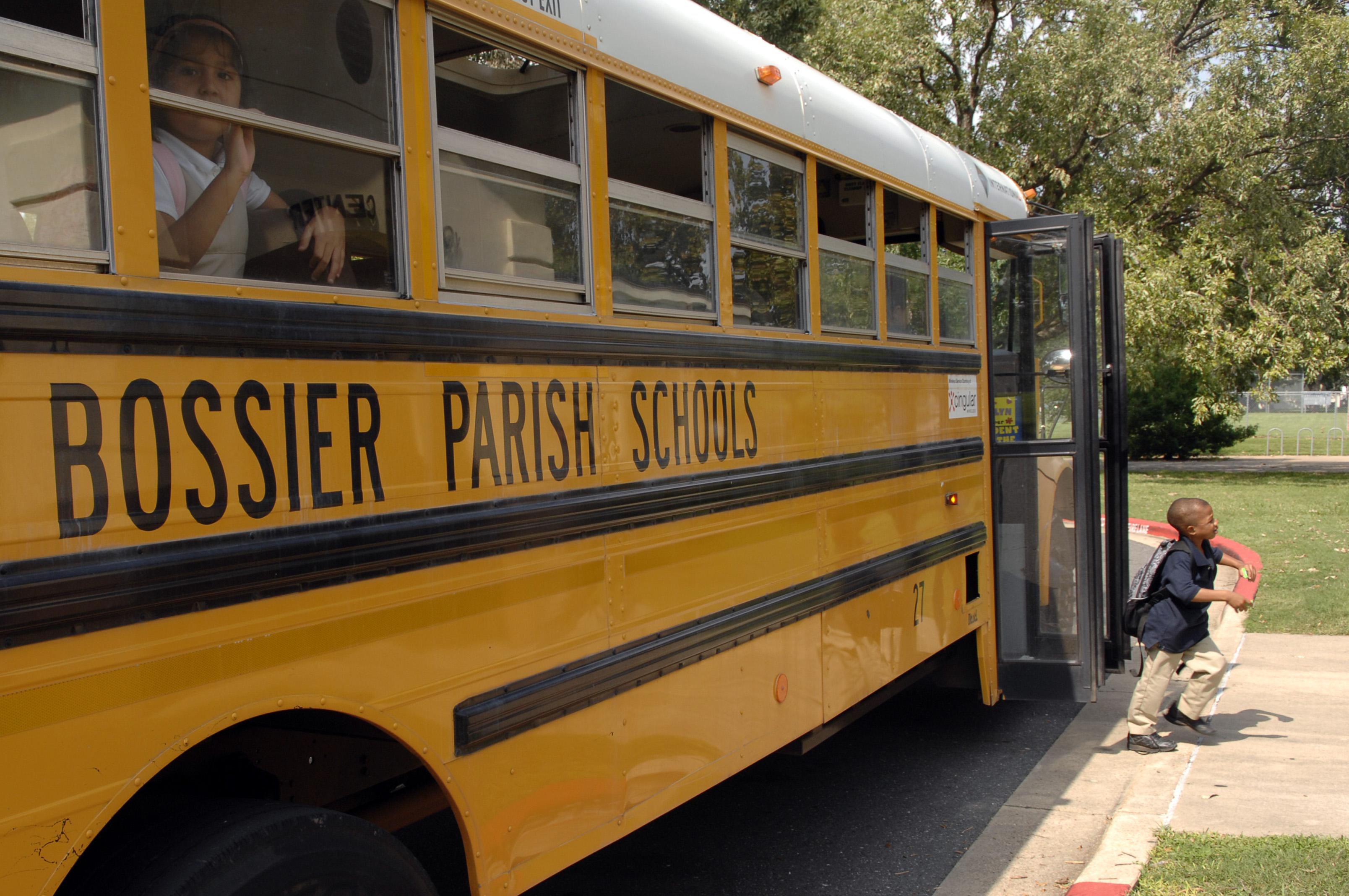 Petite lesbians on a school bus parade