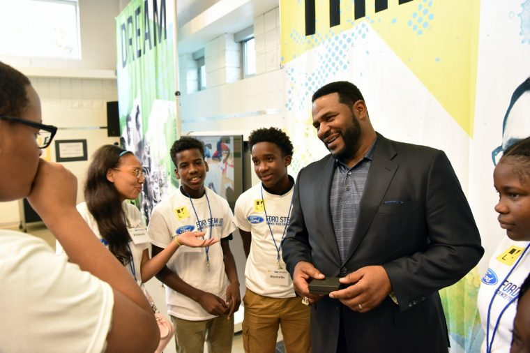 Jerome Bettis at the opening of the second Ford Resource and Engagement Center in Detroit