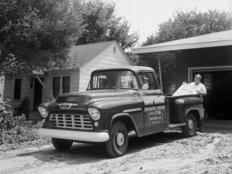 1955 Chevrolet 3200 Series half-ton pickup with 265-cubic-inch (4.3L) V-8 engine, rated at 162 horsepower and 257 lb-ft of torque.
