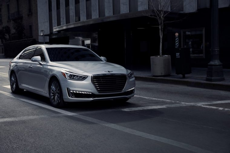 2018 Genesis G90 luxury sedan overview details trim features white body exterior