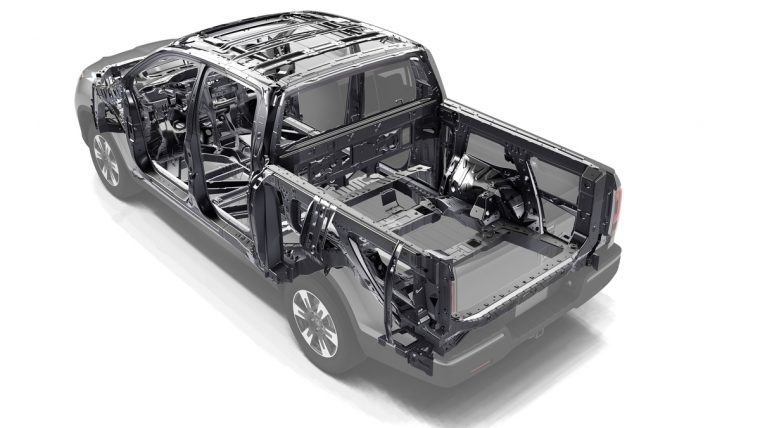 2018 Honda Ridgeline compact pickup truck overview details unibody construction safety
