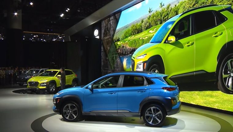 2018 Hyundai Kona crossover SUV new model vehicle debut Los Angeles Auto Show press conference engines