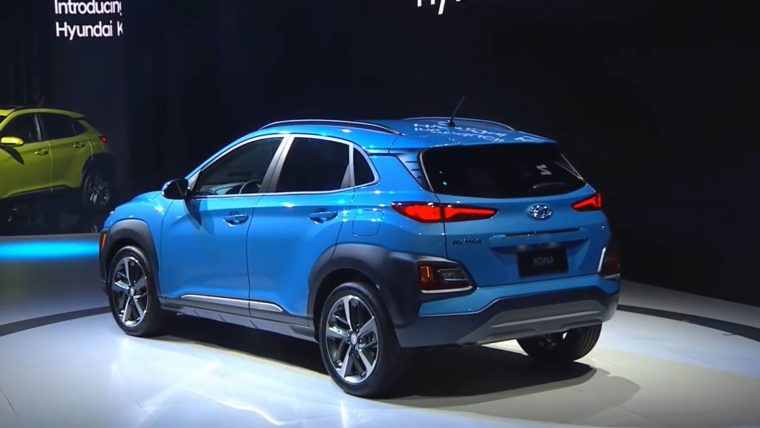 2018 Hyundai Kona crossover SUV new model vehicle debut Los Angeles Auto Show press conference surf blue