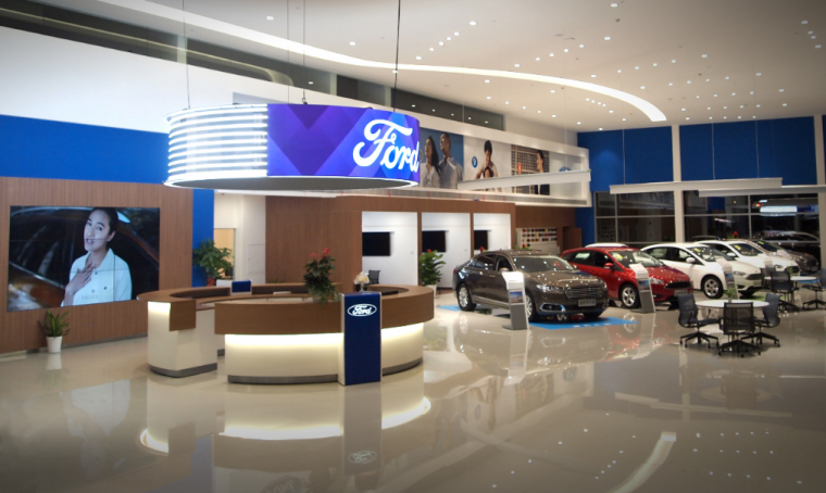 Ford Signature Dealership Design Brand Halo and Digital Blue Wall