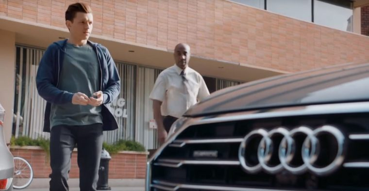 Spider-man Homecoming Marvel movie film drivers test commercial Audi car appearance