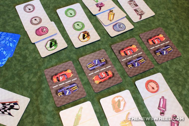 Top Speed car racing two-player card game Gamewright review automotive car theme how to play