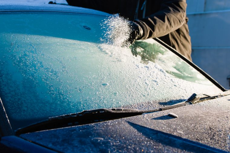 Cleaning Snow off Windshield