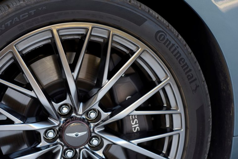 2018 Genesis G80 Sport sedan model overview details exterior photo wheel tire