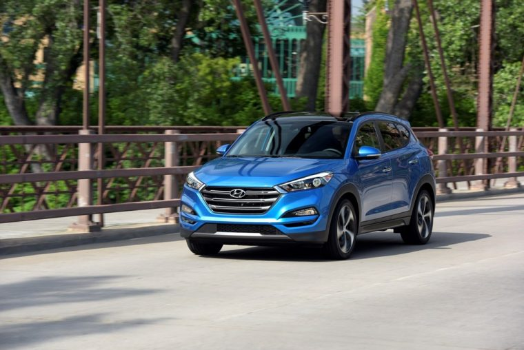 2018 Hyundai Tucson crossover SUV model overview vehicle specs information engine exterior blue body