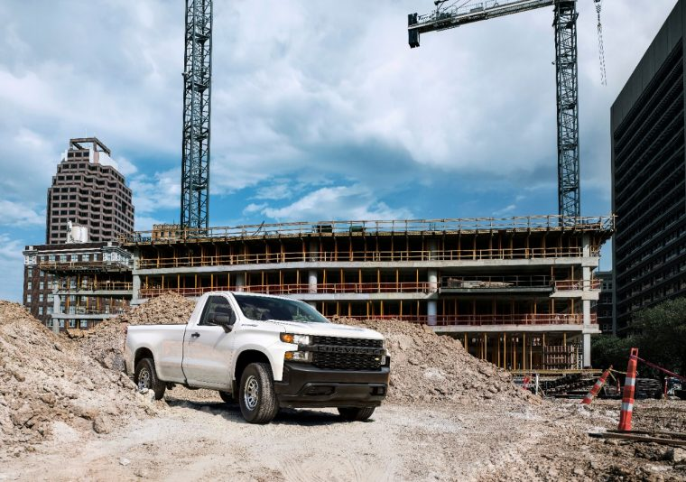 """The all-new 2019 Silverado Work Truck features a """"CHEVROLET"""" graphic across the grille and tailgate, blacked-out trim and 17-inch steel wheels for maximum durability. The interior features durable vinyl or cloth seats and 7-inch color touch screen."""
