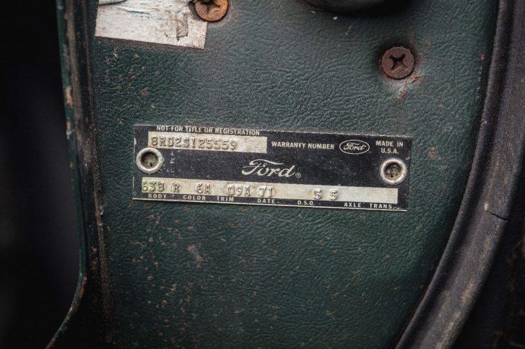 1968 Ford Mustang GT Bullitt VIN