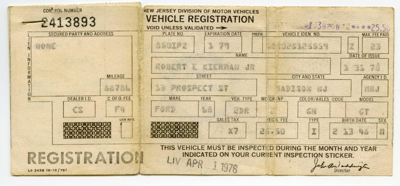 1968 Ford Mustang GT Bullitt registration card