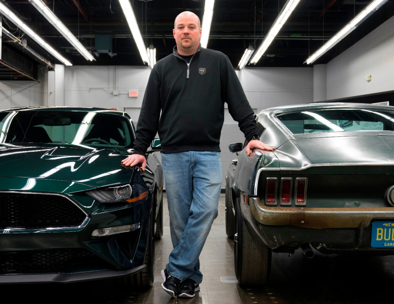 Sean Kiernan with the 2019 Ford Mustang Bullitt and 1968 Ford Mustang GT