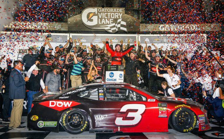 Austin Dillon celebrates Daytona victory
